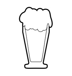 Black silhouette cartoon foamy beer glass vector