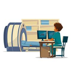 Brain mri tomography cartoon vector