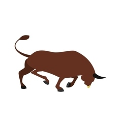 Brown bull icon flat style vector