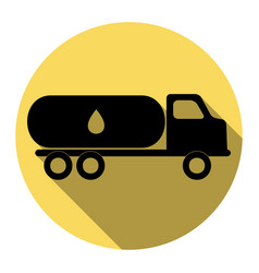 car transports oil sign flat black icon vector image vector image
