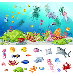 Cartoon sea and ocean life concept vector