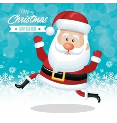 christmas card santa claus funny snow design vector image