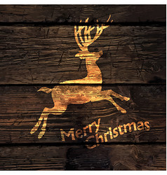 Christmas greeting card with shining gold deer vector
