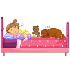 Cute girl sleeping with dog on bed vector
