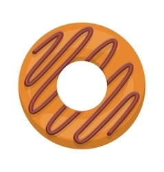 Donut with spiral in chocolate glazed vector