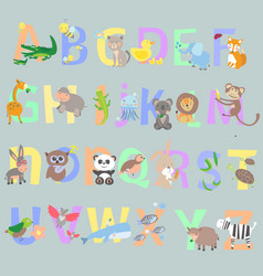 English alphabet kids vector