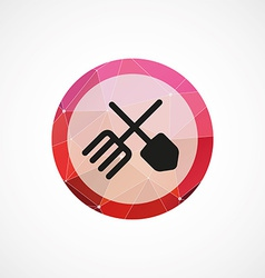 farm tools circle pink triangle background icon vector image