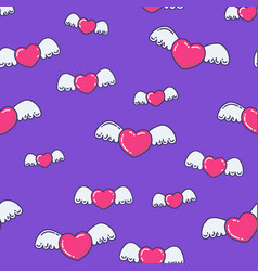 flying hearts background vector image vector image