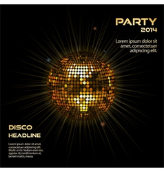 gold disco ball party background vector image