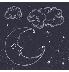 Hand drawn moon vector image
