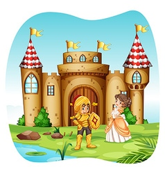Knight and princess with castel vector