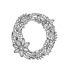 Letter O coloring book for adults vector image vector image