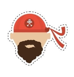 Pirate red bandana corsair bones cut line vector