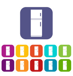 Refrigerator icons set vector