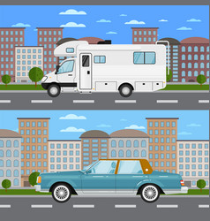 Retro car and camper van in urban landscape vector