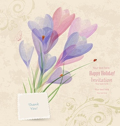 retro invitation card with spring flowers for your vector image vector image