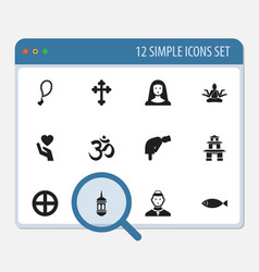 Set of 12 editable religion icons includes vector