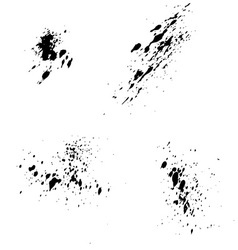 Set of black ink blots splash for grunge vector image vector image