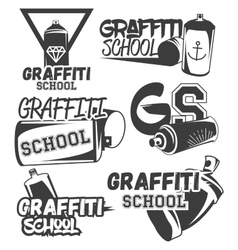 set of graffiti school labels in vintage vector image