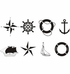 set of nautical symbols vector image vector image