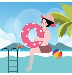 Woman in pool with ball summer vacation swimming vector