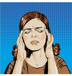 Woman in stress has headache vector
