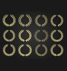 wreath icon set vector image vector image