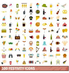 100 festivity icons set flat style vector