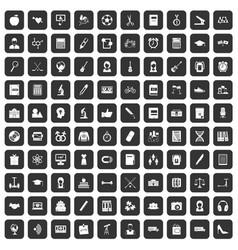 100 hi-school icons set black vector