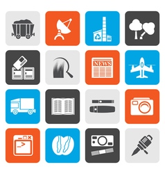 Flat business and industry icons vector