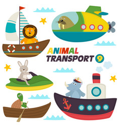 Set of isolated sea transports with animals vector