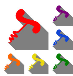 Simple corkscrew sign set of red orange yellow vector