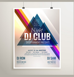 creative club music party event flyer template vector image