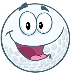 Happy golf ball cartoon mascot character vector