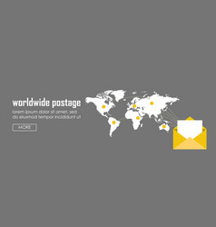 Worldwide postage concept banner web infographic vector