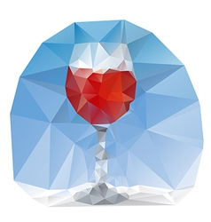 Wine glass polygonal vector