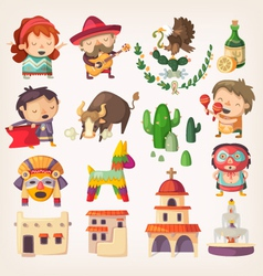 Mexican people architecture and local heroes vector
