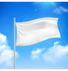 White flag blue sky background poster vector