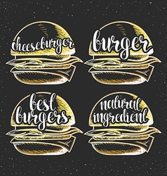 Set handmade burgers with stylish calligraphy vector