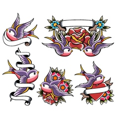 swallow tattoo design vector image