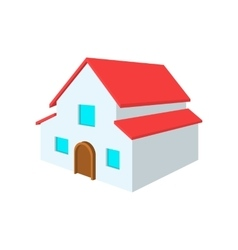 White two-storey house cartoon icon vector