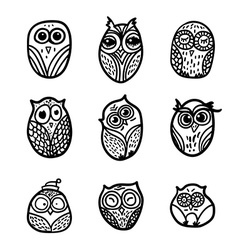 Owls hand drawn set vector