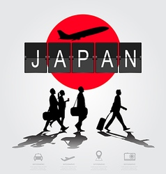 Silhouette people on japan digital board vector