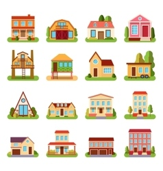 Set of detailed colorful cottage house building vector