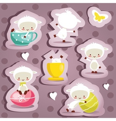 Cute easter stickers vector