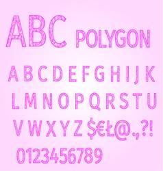 Alphabet of polygons purple mosaic vector image