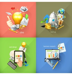 Business concepts 3d icons vector image