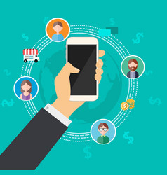 business connection with mobile phone vector image vector image