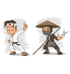 cartoon karate boy and ninja characters set vector image vector image