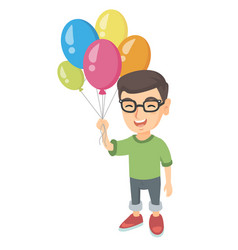 Caucasian boy with the bunch of colorful balloons vector